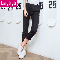 【618大促-每满100减50】Lagogo2017夏季新款韩版九分裤女铅笔裤黑色显瘦裤子小脚裤休闲裤