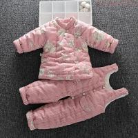 婴儿手工棉衣套装花背带棉裤女宝宝棉袄加厚儿童冬季童装