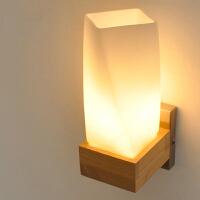 【满199-100】创意木灯 木艺楼梯 玄关过道灯 卧室床头灯 玻璃实木壁灯YX-LMD-0020