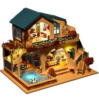 20180604025056391别墅手工创意房子模型拼装男女生玩具三八节生日礼物 +人偶+小猫小