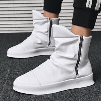 冬季新款男鞋子韩版潮流百搭休闲高帮鞋小白板鞋男士嘻哈街舞潮鞋