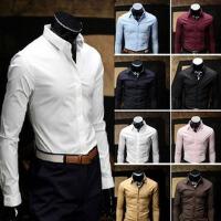 型男商务咖啡色衬衣男修身长袖寸衫男士酒红色寸衣潮牌衬衫春装男