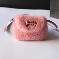 新年礼物儿童小包女童包包韩版公主斜挎包可爱手提迷你毛绒花朵包