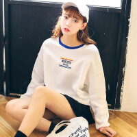 秋冬女装2018新款韩版刺绣字母加绒卫衣女宽松学生闺蜜装套头上衣