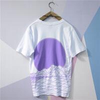 日系欧美街头嘻哈线条T恤 bf风宽松oversize男情侣短袖夏季学生潮