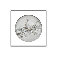 新中式装饰画餐厅挂画客厅玄关软装实物画样板房梅花现代壁画SN6741 100*100 独立玻璃画品 发物流需自提