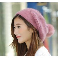秋冬季帽子户外帽潮真狐狸球帽 女韩版可爱兔毛贝雷帽时尚