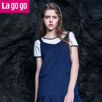 Lagogo/拉谷谷2019夏季新款学院风连衣裙两件套女吊带裙v领裙修身裙子