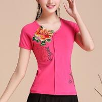 民族风女装上衣 夏装新款中国风绣花修身打底衫大码刺绣短袖T恤女