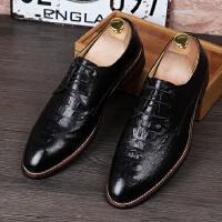 DAZED CONFUSED 潮牌青年男士尖头皮鞋鳄鱼纹商务正装休闲鞋内增高时尚发型师潮鞋
