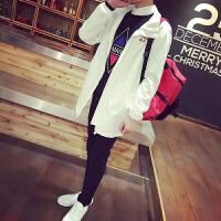 秋季中长款韩版男士修身薄款风衣男黑白色日系宽松潮男风衣外套