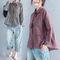 大码胖mm衬衫女长袖春季新款休闲格子衬衣宽松显瘦遮肚子上衣