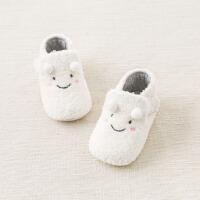 戴维贝拉春装新款婴儿软底步前鞋 宝宝毛绒鞋子DB8463