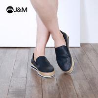 jm快乐玛丽2018春季新款平底松糕套脚舒适男士帆布鞋男鞋子72101M