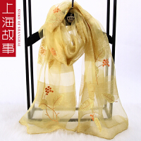 上海故事围巾女冬季韩版百搭真丝羊毛刺绣围脖长款披肩女秋冬多用
