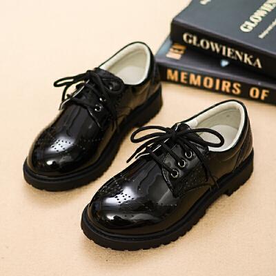 儿童黑色皮鞋中大童小学生表演鞋透气软底花童鞋演出鞋男童黑皮鞋