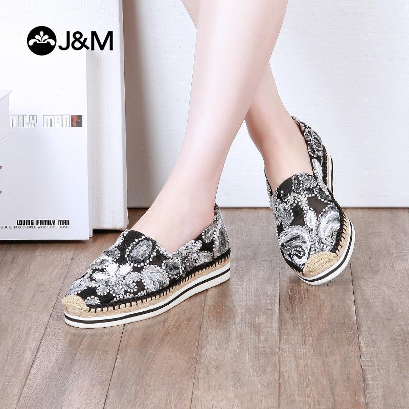 jm快乐玛丽帆布鞋女2018夏季镂空松糕鞋厚底一脚蹬懒人布鞋51239W