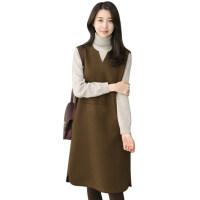 马甲裙毛呢背心裙秋冬季女 大码袖背带裙中长款连衣裙