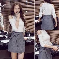 2018春季女装新款潮短裙套装女秋装时尚韩版毛衣两件套针织连衣裙