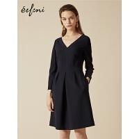 伊芙丽秋装新款韩版V领优雅高腰长袖中长款极简主义连衣裙女
