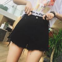 牛仔短裤女夏2019新款白黑色高腰宽松显瘦阔腿外穿a字热裤短裤潮