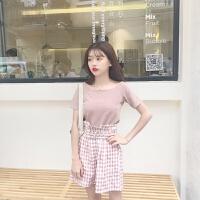 韩版时尚休闲套装夏装一字领T恤上衣女+高腰阔腿裤短裤两件套潮 图色