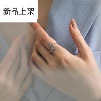饰品春夏新款欧美风925银戒指女 简约气质镶钻女款开口戒指 可调节大小 *佳品生日礼物 J76星海开口戒指