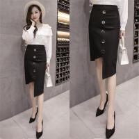 弹力包裙半身裙秋冬季高腰大码单排扣不规则性感显瘦裹臀一步裙女 黑色