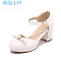 韩版女童凉鞋公主鞋2018夏季白色演出鞋童鞋小女孩主持礼服高跟鞋