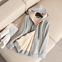 大码女装冬装新款基本款纯棉羊羔绒加厚连帽卫衣胖mm外套