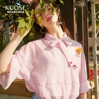 2018夏季新款女装学生蝴蝶结衬衫荷叶袖上衣遮肚子雪纺衫预售