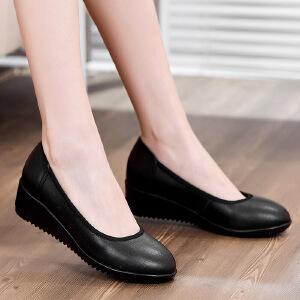 【包邮】春夏秋2017工作皮鞋低跟圆头单鞋低跟真皮黑色职业女鞋 工作鞋女0162QNML