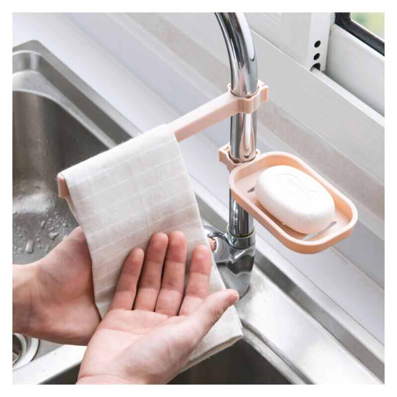 【券后9元起】龙头毛巾架 水龙头沥水肥皂盒 肥皂架 厨房置物架 水池收纳架 厨房水槽海绵抹布沥水架组合装