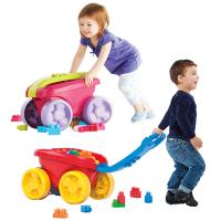 20180530044429521自动收纳手拉车拖车推车学步车积木收纳儿童玩具1-3岁 CNK33粉色款