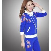 韩版开衫连帽秋季长袖运动套装 春秋女运动服修身显瘦运动休闲套装