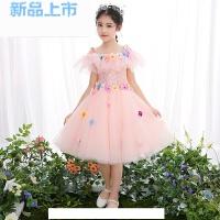 女童晚礼服公主裙粉色小孩儿童婚纱蓬蓬纱花童裙子生日钢琴演出服