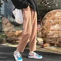 灯芯绒裤子女bf原宿宽松学院风复古休闲裤冬季哈伦裤学生九分裤检