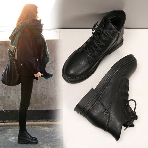 ZHR复古马丁靴女英伦加绒内增高学生女靴子百搭系带短靴2018冬季新款