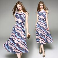 夏季新品女装系带显瘦无袖雪纺连衣裙波西米亚长裙海边度假沙滩裙
