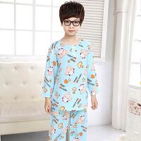 男童儿童睡衣绵绸夏季绸宝宝小男孩空调家居服套装中大童薄款
