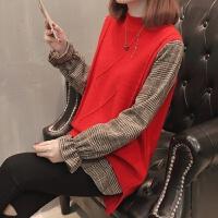加厚毛衣女士春装中长款格子假两件打底衫2018新款长袖时尚针织衫
