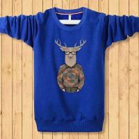 慈姑冬季加绒保暖男长袖T恤 大码带绒卫衣打底衫加厚男装外穿 蓝色 大鹿