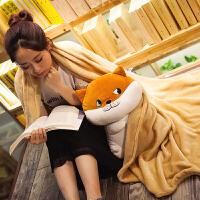 午睡毯子枕头办公室腰靠二哈抱枕被子两用靠垫靠枕