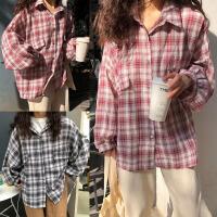 加肥加大码春装Polo领格子长袖衬衣200斤胖MM韩版学院风防晒外套