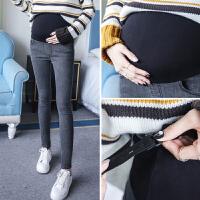 孕妇牛仔裤2018新款春秋外穿打底裤怀孕期休闲裤 3-9个月秋冬长裤