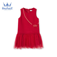 【3件3折:98元】水孩儿女童连衣裙2019秋冬新款儿童经典大红色时尚拼接马甲裙