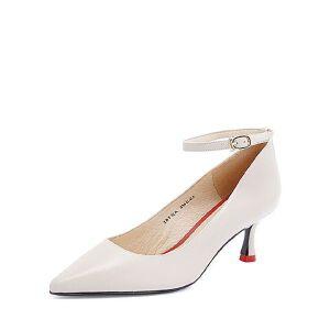 Tata/他她2018秋羊皮革一字带尖头细高跟浅口女鞋2BFQACQ8