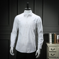 终于等到你斜纹工装白衬衫男长袖春装职业装纯白衬衣简约正装寸衫