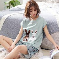 馨多美夏季女士纯棉睡衣短袖短裤圆领韩版卡通全棉可爱家居服套装 ML77060