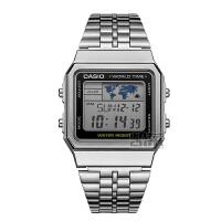 casio卡西欧手表男女复古金色钢带方形小金表运动电子表A500WA-1D